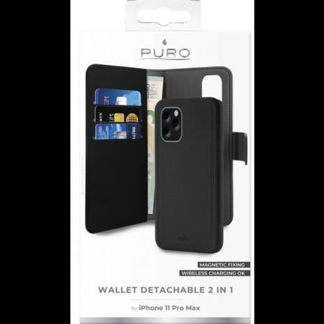 Apple iPhone 11 Pro Max Magnet pung taske og cover 2-i-1 fra Puro - Sort-4