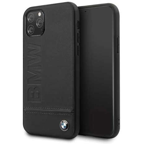 BMW - Logo Imprint - Leather Hard Cover - Apple IPhone 11 Pro Max - Black-3