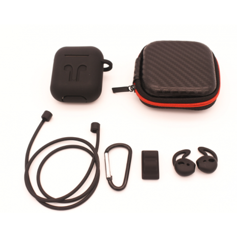 Cyoo - 6in1 Silicon Cover with Accessory -  Black - Apple AirPods-1