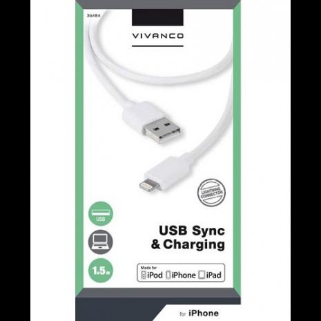 Ekstra kraftigt Lightning ladekabel til Apple iPhone & iPad, Vivanco 1,2m-2