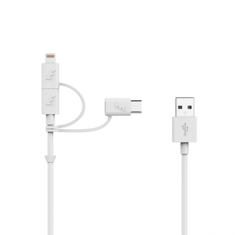 Energizer Lightning/ Micro USB/ Type C 3in1 Cable  white-2