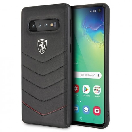 Ferrari - Heritage Quilted - Leather Hard Cover - Samsung Galaxy S10+- Black-3
