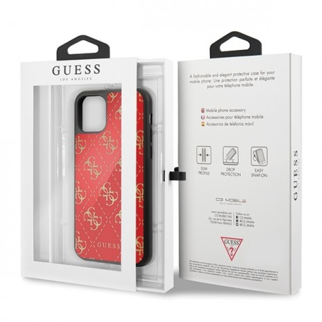 Guess - 4G Dobble Layer Glitter Case - Apple iPhone 11 Pro Max - Rot - Cover - Schutzhülle-2