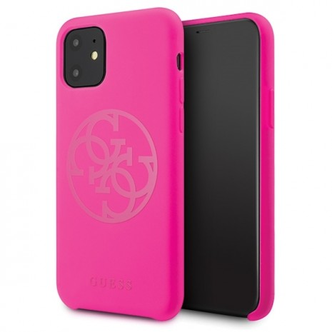 Guess - 4G Silicon Collection Tone Case -  Apple iPhone 11 - Magenta - Hard Cover-1