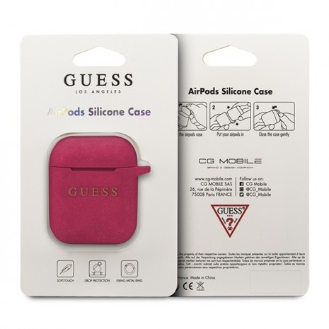 Guess - Silicon Cover Ring -  Airpods - Magenta-2