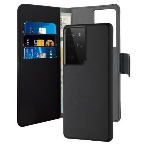 Samsung Galaxy S21 Ultra Magnet pung taske og cover 2-i-1 fra Puro - Sort