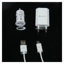 UreParts Rejsesæt Biladapter/Adapter & MicroUSB Kabel Hvid 1A