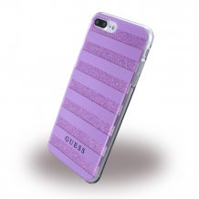 Guess Silikone Cover med 3D Effekt Striber med glitter iPhone 7 Plus Lilla/Transparent