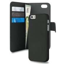 Apple iPhone 5/5S/SE Magnet pung taske og cover 2-i-1 fra Puro - Sort-1