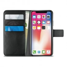 Apple iPhone XS Max Puro Milano Wallet flipcover med 3 Kreditkortlommer - Sort-1