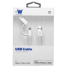 2-i-1 Apple Lightning & microUSB opladerkabel 1 meter Just Wireless