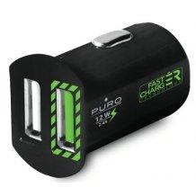Biloplader med 2 USB Porte Puro Universal 2.4A Fast Charger Sort-1