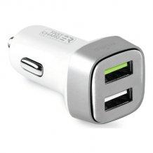 Biloplader Med Hurtigopladning, 2 USB 2.4A+1A, hvid-1
