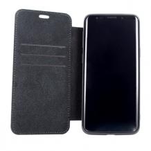 BMW - Logo Imprint - Leather Book Cover - Samsung G960F Galaxy S9 - Black-1