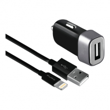 Car Charger USB-A 5W w/Lightning Cable, Black-1