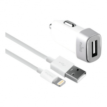 Car Charger USB-A 5W w/Lightning Cable, White-1
