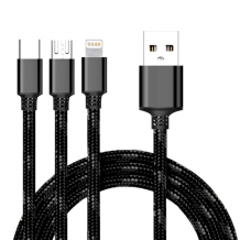 Cyoo - 2in1 USB Charging + Data Cable - Micro USB, USB Type-C and Lightning - Black-1