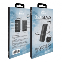 Eiger 3D fullbody (for- og bagside) panserglas til Apple iPhone X/XS - Gennemsigtig, Sort-1