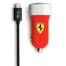 Ferrari Billader med 2 USB porte 2.1A til telefoner & tablets, Rød-1