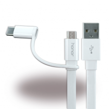 Huawei - 2in1 Charging + Data Cable - Micro USB and USB Type C - White-1