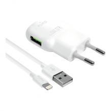 Hurtig vægoplader 12W Lightning-kabel MFI 1m hvid-1