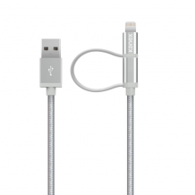 Kanex Premium Lightning + Micro USB Combo 1.2M Cable, Silver-1