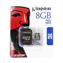 Kingston microSDHC Card  8GB + Adapter (not DE)-1