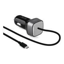 Mini Car Charger Qualcomm 2A w/MicroUSB Cable Black-1