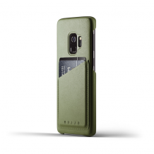 Mujjo Leather Wallet Case for Samsung Galaxy S9 Olive-1