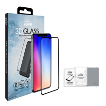 Panserglas til Apple iPhone XS Max - Eiger 3D Glass Gennemsigtig, Sort-1