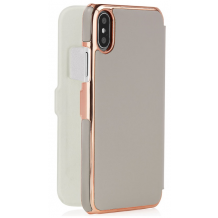 Pipetto Slim Wallet Classic for iPhone XR, Grå / Rose Gold-1