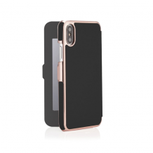Pipetto Slim Wallet Mirror for iPhone XR - Black/Rose Gold-1