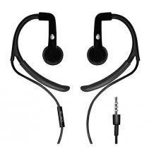 Puro Sport stereo headset med ørekroge og mikrofon, Sort
