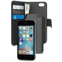 iPhone 5 / 5S / SE Magnet pung taske og cover  2-i-1 fra Puro Sort