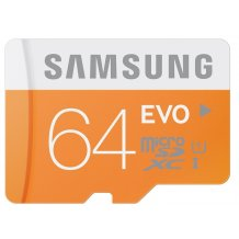Samsung Evo 64GB Class10 48MB/s MicroSD hukommelseskort m. adapter