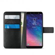 Samsung Galaxy A6 (2018)/A6+ (2018) Puro Milano Wallet flipcover med 3 Kreditkortlommer - Sort-1
