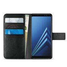 Samsung Galaxy A8 (2018) Puro Milano Wallet flipcover med 3 Kreditkortlommer - Sort-1