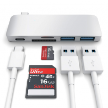 Satechi USB-C Pass Through USB Hub - 3-in-1 Hub. Compatible with New MacBooks, allowing charge!-1