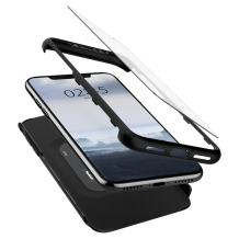 Spigen Thin Fit 360 Case +Glass Screen Protect for iPhone XS black-1