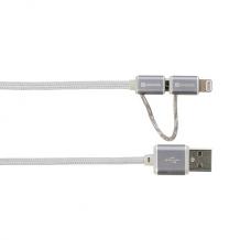 Steel 2-i-1 Chargen Sync Mikro USB og Lightning kabel-1