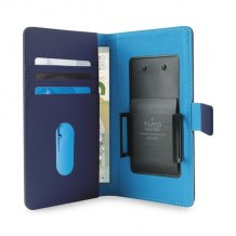 Uni. Wallet PU L w/Sliding Holder & Card Slots Blue-1