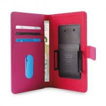 Uni. Wallet PU L w/Sliding Holder & Card Slots Pink-1