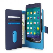 Uni. Wallet PU M w/Sliding Holder & Card Slots Blue-1