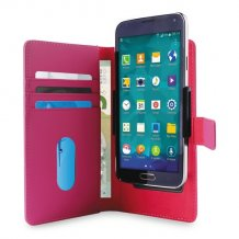 Uni. Wallet PU M w/Sliding Holder & Card Slots Pink-1