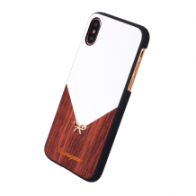 Uunique - Rose Wood - Hard Cover - Apple iPhone X - White/Brown-1