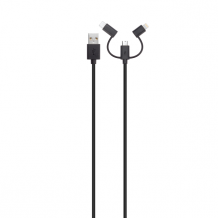 XQISIT Cable Combo mUSB/USB C/Lightning black-1
